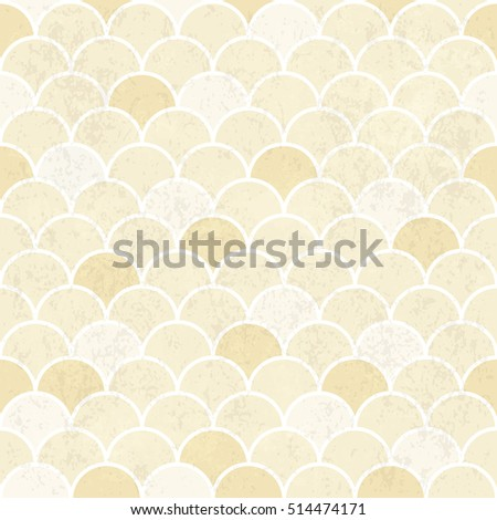 Fish Scales Pattern. Seamless Vintage Background. Grunge Textured Vector