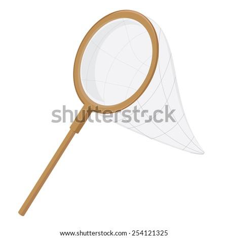 Fish scoop, weep  net, fishing net, butterfly net with wooden handle - stock vector