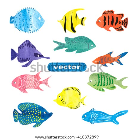 Fish set. Collection of colorful watercolor sea fish isolated on white background. Vector illustration.  - stock vector