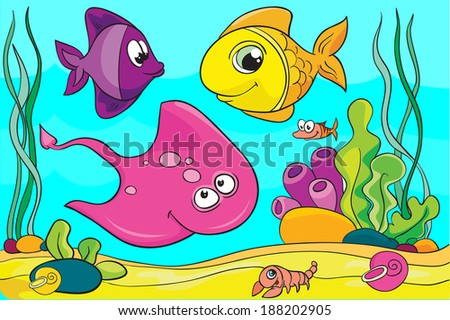 fish set, vector illustration on colored background