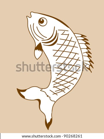 fish silhouette on yellow background, vector illustration - stock vector