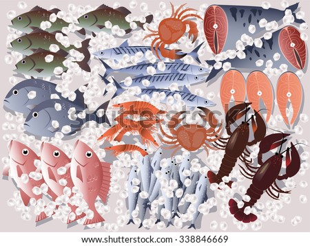 Fish store display, assorted seafood on ice, EPS 8 vector illustration, no transparencies - stock vector