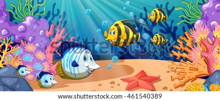 Fish swimming under the ocean illustration