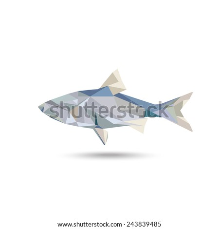 Fish symbol consist of triangle with the shadow - stock vector