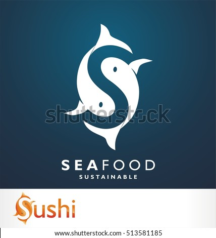 Fish symbol. Fresh seafood logo template design. Vector illustration. S logo. Letter S like fish symbol. Squid. Calamari. Clam. Crab. Shrimp. Lobster. Tuna. Salmon. Seafood restaurant.