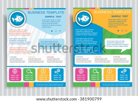 Fish symbol on vector Brochure Flyer design Layout template, size A4. Easy to use and edit. - stock vector