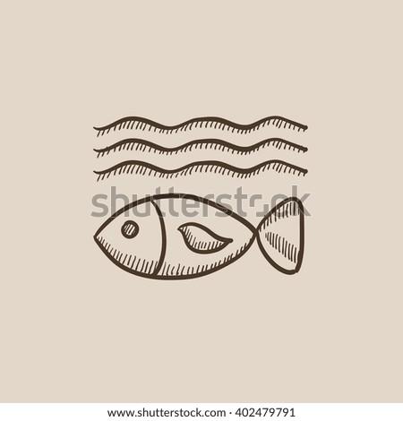 Fish under water sketch icon. - stock vector