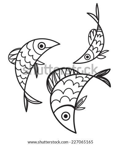 Fish - vector illustration, sign and symbol - stock vector