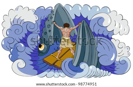 Fish (whale) swallows Jonah and Jonah resists it. - stock vector