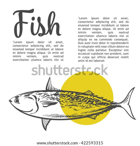 Fish with a yellow spot and lettering inscription, vector sketch hand-drawn illustration of a white background, sketch fresh fish, hand-drawn sea food for fish - stock vector