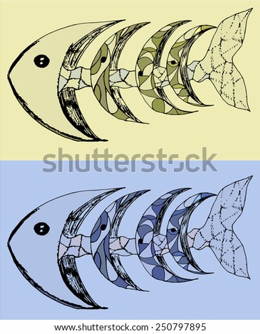 fish with bones abstract vector illustration - stock vector