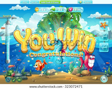Fish world example screen you win for video or web design, game user interface - stock vector