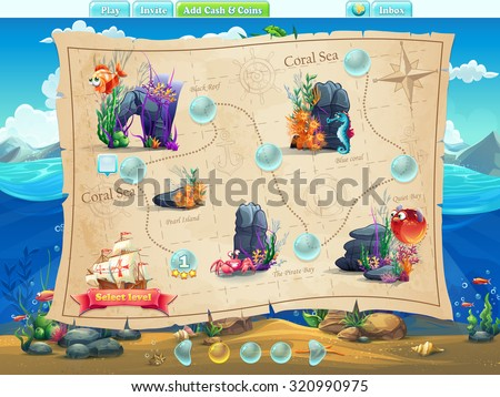 Fish World - Illustration example screen levels, game interface with progress bar, objects, buttons for gaming or web design - stock vector
