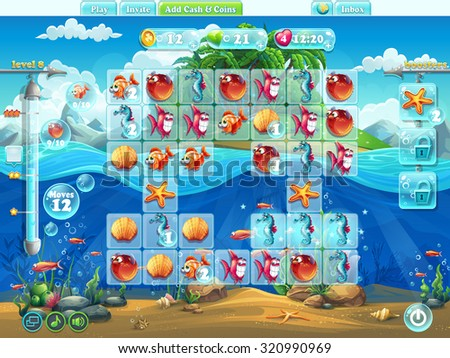 Fish world- playing field for the video or web computer game user interface or design - stock vector