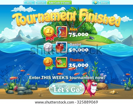Fish world - tournament finished  for video or web design, game user interface - stock vector