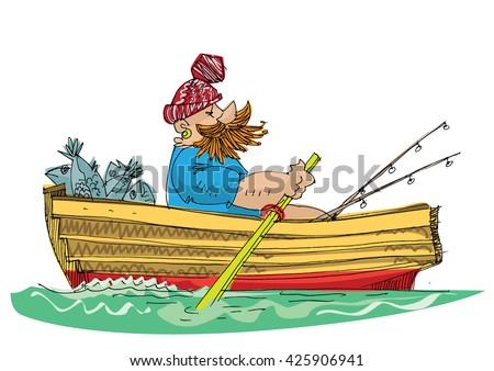 fisher in paddle boat - cartoon - stock vector