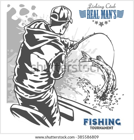 Fisherman and fish -  vintage two color illustration