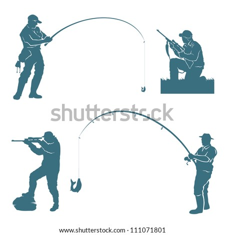 Fisherman and hunter silhouettes - vector illustration - stock vector