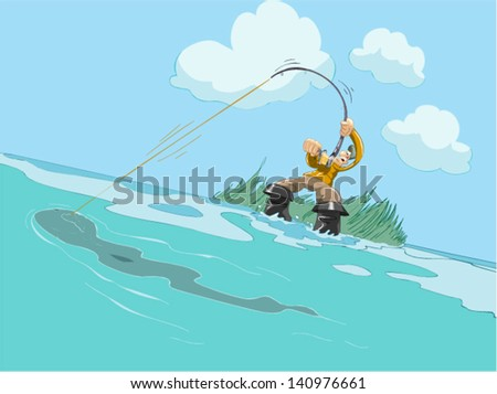 Fisherman angling for fish - stock vector