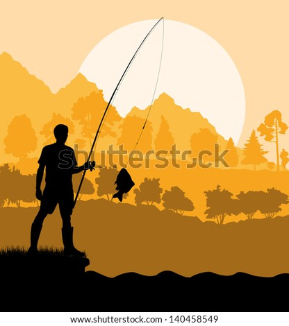 Fisherman at sunset vector background concept landscape - stock vector