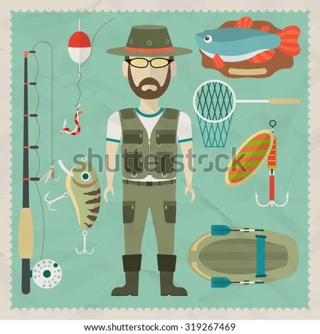 Fisherman flat character.  Fishing flat icons. Vector flat illustrations - stock vector