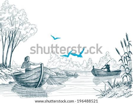 Fisherman in boat sketch, delta, river or sea background in vector - stock vector