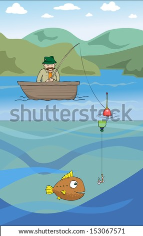 Fisherman in the boat, fish underwater, vector illustration - stock vector