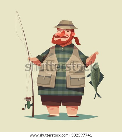 Fisherman's catch. Vector illustration. - stock vector