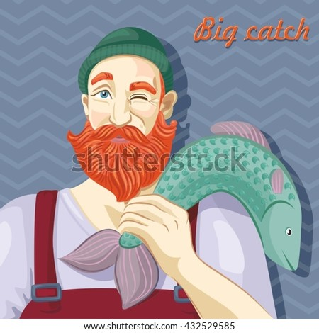 Fisherman's catch. Vector illustration.