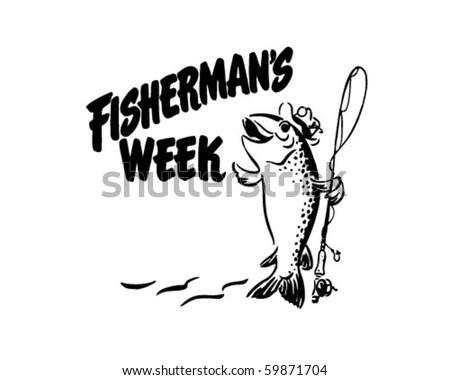 Fisherman's Week - Header - Retro Clip Art - stock vector