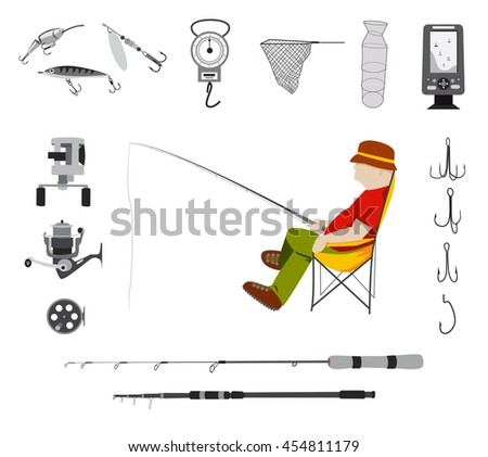 Fisherman sitting in a chair and monochrome fishing tackle flat icon set Fishing rod, bait, lure, net and other gear and supplies abstract vector illustration - stock vector