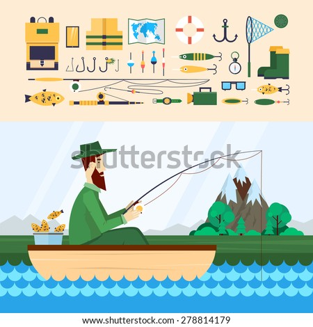 Fisherman sitting in the boat and fishing. Fishing Icons. 2 banners. Flat design vector illustration. - stock vector