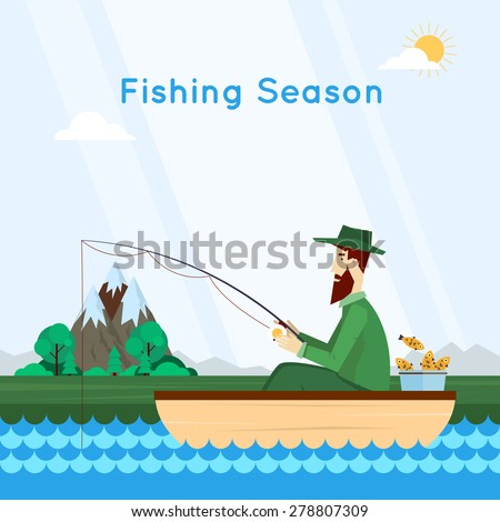 Fisherman sitting in the boat and fishing. Vector flat illustration.