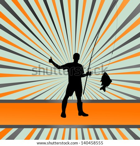 Fisherman vector burst background concept - stock vector