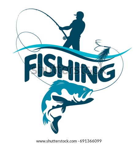 Fisherman with a fishing rod pulls a fish silhouette vector