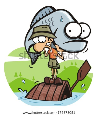 Fisherman with big fish - stock vector