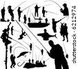 fishermen and fishing equipment vector - stock photo