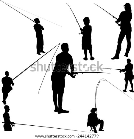 fishermen and fishing 2 - vector - stock vector