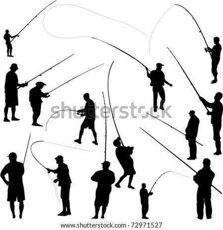 fishermen and fishing - vector - stock vector