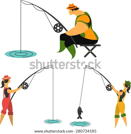 fishermen with fishing rods fishing, man, woman fishing on a white background - stock vector