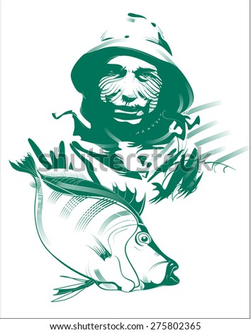 Fishery. Business concept. Portrait of a fisherman. Vector