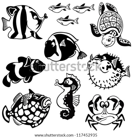 fishes and sea animals,vector set,black and white cartoon images isolated on white background,children illustration