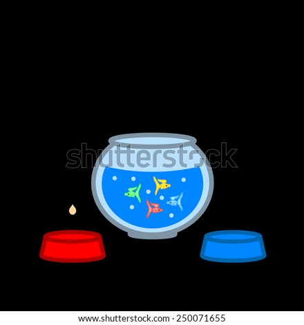 Fishes in a glass bawl - stock vector