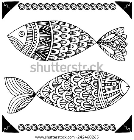 Fishes on simple white background - stock vector