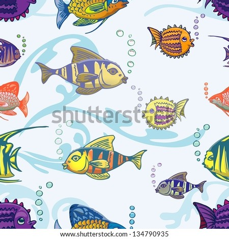 fishes seamless pattern - stock vector