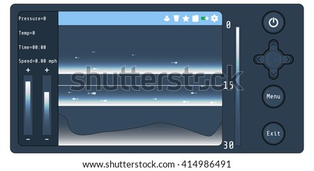 Fishfinder, or sounder. Fishfinder Vector Art. Fishfinder Stock Vector. Sounder Stock Vector. Sounder Vector Art.  - stock vector