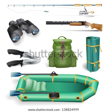 fishing and hunting objects - stock vector