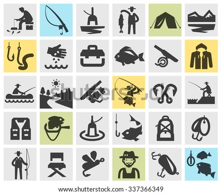 fishing, angling vector logo design template. fisherman, fish or sport, recreation icons - stock vector