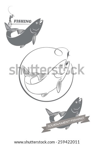 fishing asp - stock vector