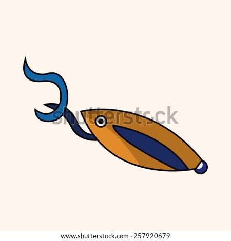 Fishing bait theme elements - stock vector